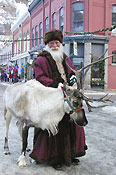 Father Christmas with a reindeer